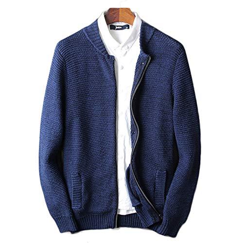 Tricoté Cardigan Air Manteau Poches Bleu Manches Pour Plein Fermeture Bureau Éclair Pull Longues À Outwear Roulé Col Casual Hommes En dBSBxqw