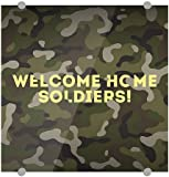 CGSignLab | Inner Circle ''Welcome Home -Camo -Square'' 3mm Premium Aluminum Sign with Brushed Aluminum Edge-Grip Stand-Offs (5-Pack) | 16''x16''
