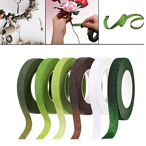 VGOODALL 6 Pcs Floral Tape Florist Stem Tape Wrap Green Tape For Bouquet Flowers