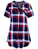 Le Vonfort Plus Size Gingham Plaid Tunics, Womens Henley Neck Short Sleeve Tops Business Casual Shirts Blouses for Summer (Sapphire Red, XX-Large)