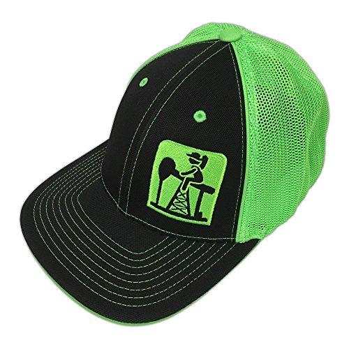 Pump Jack Cowboy Brand Black/Neon Green Reverse Out Pumpjack Logo Flexfit Hat - S/M -