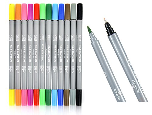 Dual Tip Fineliner Pens Brush Marker Set For Adult Coloring Books Drawing Sketching Writing