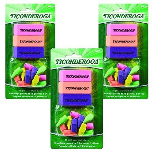 Ticonderoga Office and School Eraser Combination Set, 15 Eraser Multi-Pack, Multicolored (38931)(3Pack)