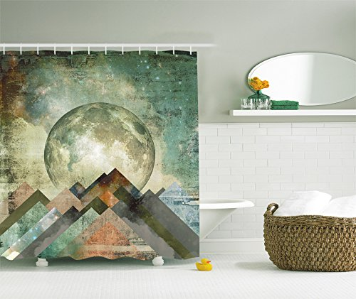 Vintage Shower Curtain Rustic Geometric Decorations by Ambesonne, Grunge Pastel Moonshine Moon Print Retro Paintings, Polyester Fabric Bathroom Shower Curtain Set with Hooks, Teal Beige Brown