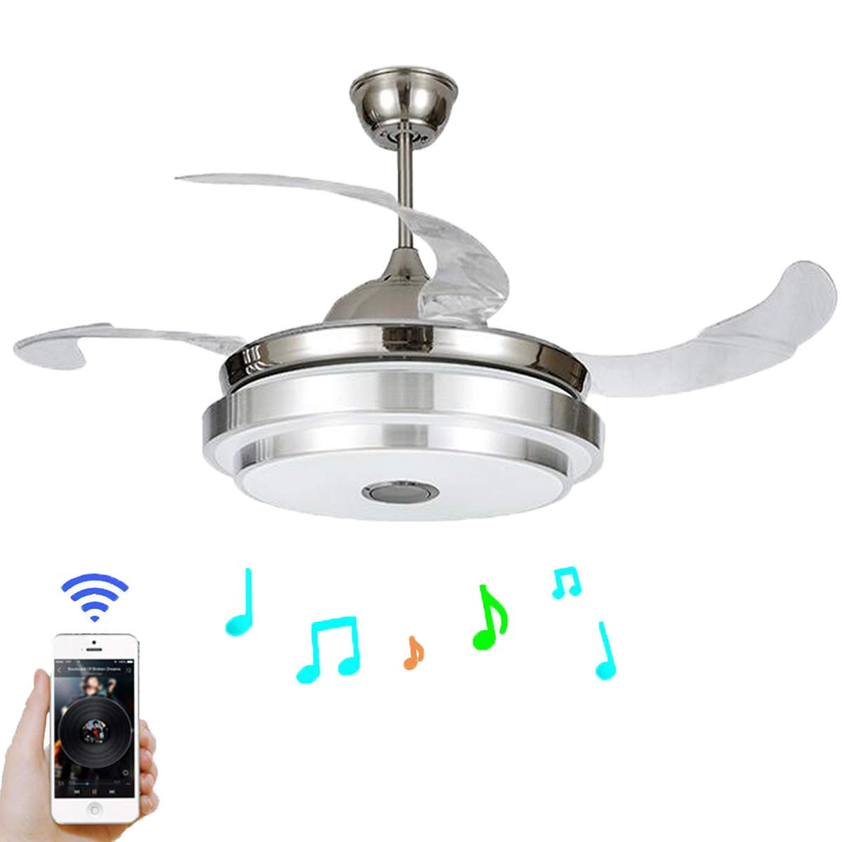 FINE MAKER 42 Modern Ceiling Fan with Light LED Integration Three-Color Light with Smart Bluetooth Music Player and Remote Control Adjustment Speed ABS Invisible Blade
