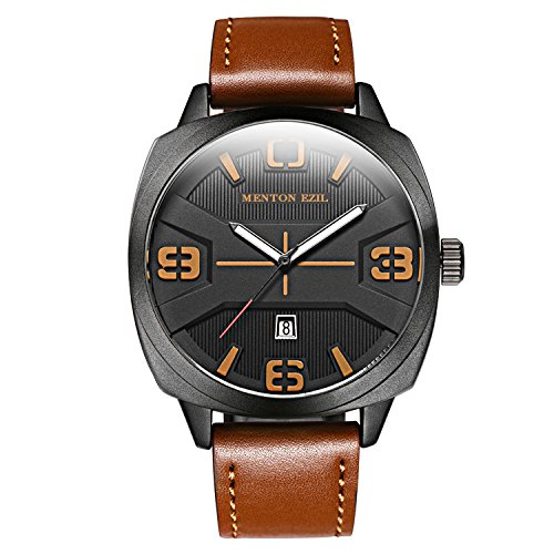 Menton Ezil Mens Watches Sapphire Crystal Leather Band 30M Waterproof Classic Dress Analog Quartz Wrist Watch (Brown)
