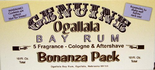 YOUR CHANCE TO TRY ALL FIVE OF OUR BAY RUMS! You will get 1 two-ounce bottle each of: Genuine Ogallala Bay Rum Bonanza! 1 two-ounce bottle each of: Bay Rum Aftershave - Limes and Peppercorns, Sage & Cedar, Sandlewood and Bay Rum and Vanilla (Males To Bay)