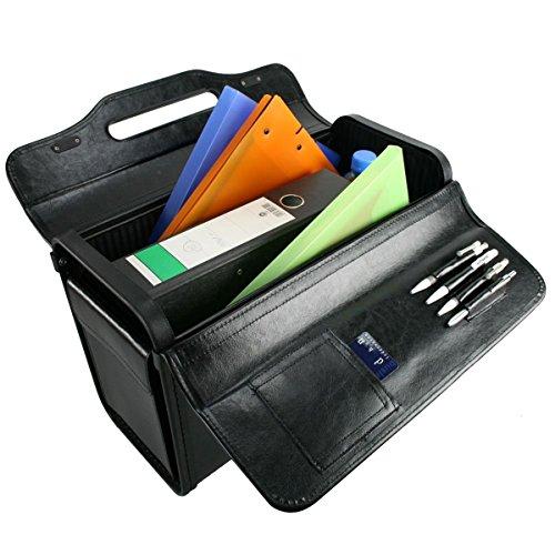 "D & N Leder Pilotenkoffer 17 "" Laptop Aktenkoffer Business Bag 46x32x22cm Schwarz 2685 Bowatex"
