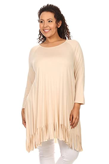 38f44addea3 Amazon.com  CANARI Plus-Size Women s Fringe-Trim Long Sleeve Tunic ...