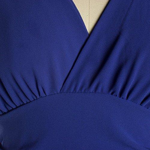 2017 Mujer Verano Color Sólido V Cuello Mangas Halter Moda Carácter Altura De La Cintura Vestido Blue