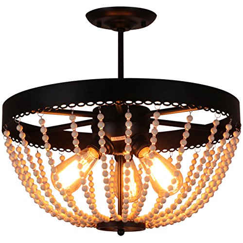 wood bead chandelier - 9