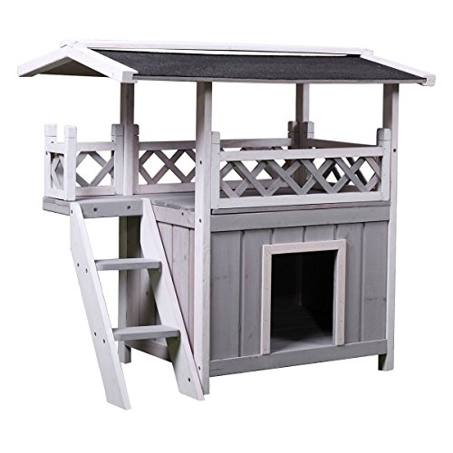 Tobbi Dog House Outdoor Shelter Roof Cat Condo Wood Steps Balcony Puppy Stairs Grey Review