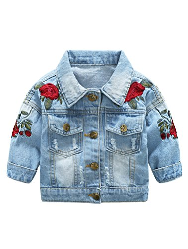 Abolai Baby Girls' Rose Embroidery Button Down Jeans Jacket Top Blue 100