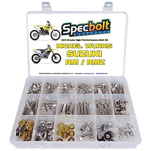 Specbolt Fasteners: Nickel Wurks Bolt Kit Suzuki RM/RMZ 125 250 450 RM65 RM80 RM85 RM100 RM125 RM250 RMZ250 RMZ450 60 65 80 85 100 RM-Z250 RM-Z450 (Rm 85 Plastics)