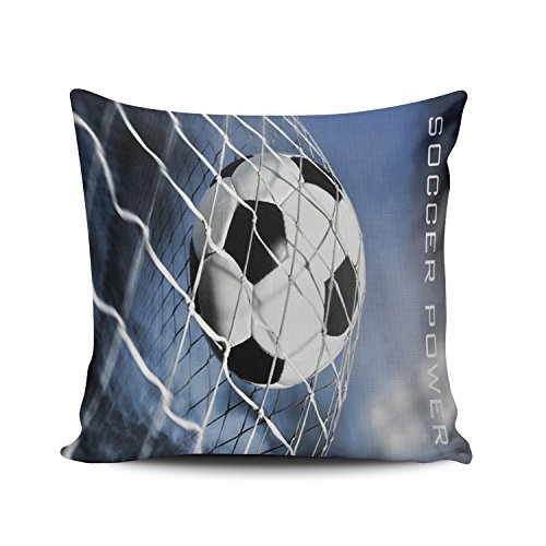 KEIBIKE Personalized Soccer Ball in Goal Square Decorative Pillowcases Print Zippered Throw Pillow Covers Cases 16x16 Inches One (Personalized Soccer Gifts)