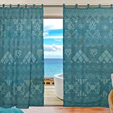 Cheap SUABO 2PCS Ultra Luxurious Window Gauze Curtains, Polyester Washable Sheer Window Curtain Panels for Bedroom Living Room 55″ W x 78″ L – (Set of 2 Panels), Tribal Motif Pattern