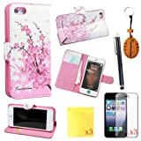 (TRAIT)8IN1 Pink Flower PU Leather Wallet Cases Protective Skin for iphone 5 iphone 5s Flip Folio Case Stand Holder+touch Screen Pen +3* Screen Protector +3* Cleaning Cloth
