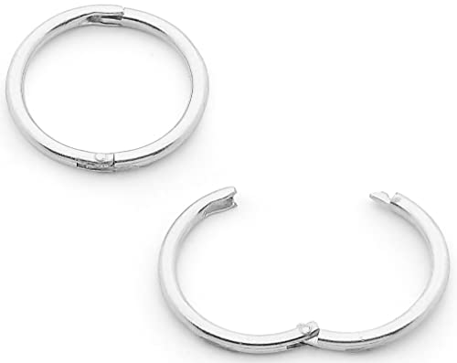 30938fc40 Amazon.com: 365 Sleepers 1 Pair Solid Sterling Silver 18G Hinged Hoop  Sleeper Earrings Made In Australia 16mm: Jewelry