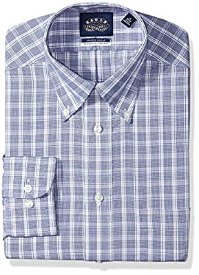 Eagle Men's Non Iron Stretch Bd Collar Regular Fit Plaid Dress Shirt