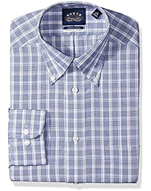 Men's Non Iron Stretch Bd Collar Regular Fit Plaid Dress Shirt,
