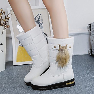 Toe 5 Round Fashion Ankle US5 Black Pu Booties White Boots Boots Khaki Casual Fall Winter RTRY UK3 CN35 For Boots Shoes Women'S EU36 5 nqPzxAH