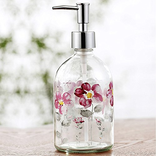 Ivy Home 17oz Flower Glass Soap Dispenser Bottle with Plastic Pump by Ivy Home