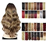 Florata 29 Inches 3/4 Full Head One Piece 5clips Clip in Hair Extensions Hairpieces Long Curly Dark Brown