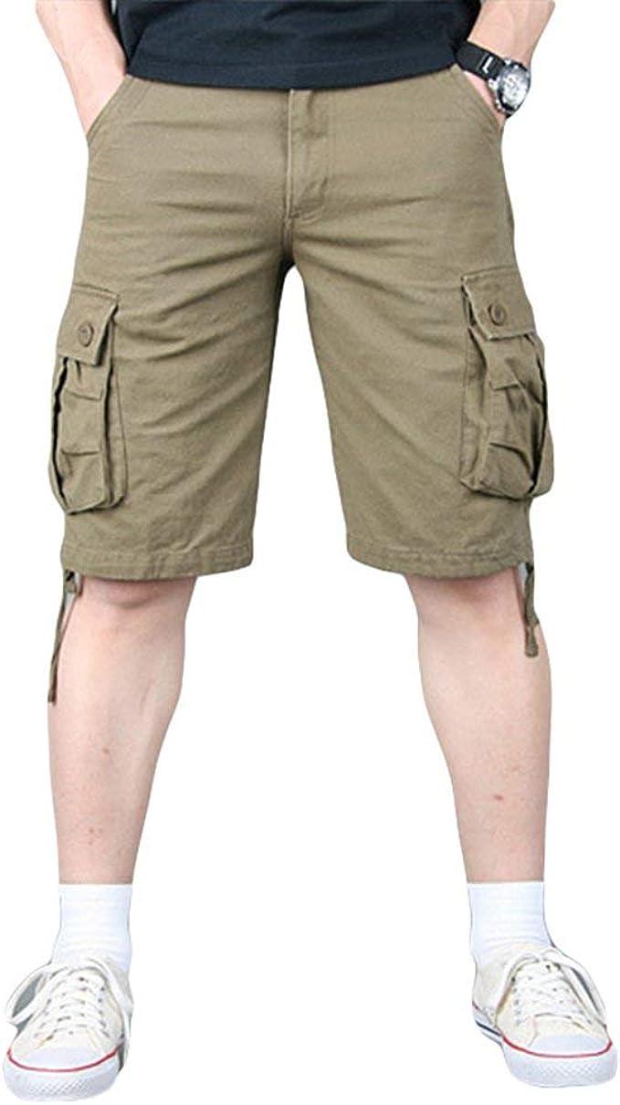BOLAWOO-77 Pantalones Cortos De Carga Bolsillos Hombres con ...