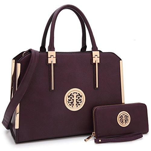 MMK Fashion Handbag for Women Classic Satchel handbag Designer Top handle purse Trending Hobo Tote bag 2 pieces(Handbag/wallet) Set (B-7555-W-Purple) ()