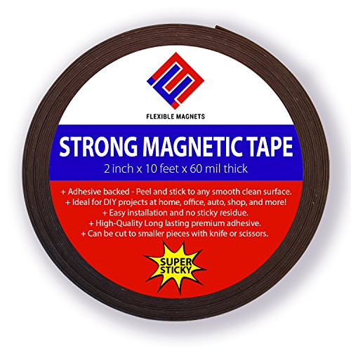 Adhesive Magnetic Strip - Flexible Magnet Tape. 2-inch x 10-feet x 1/16 thick - VERY STRONG!