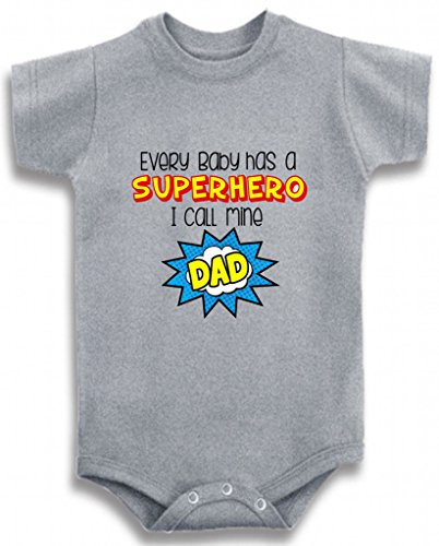 Gray Crew Neck Baby Tee Time Boys' Every baby has a superhero DAD funny One piece 6-12 Months