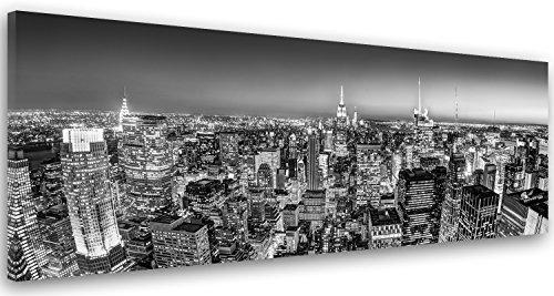 Feeby Frames, Cuadro en lienzo, Cuadro impresion, Cuadro decoracion, Canvas de una pieza, 40x100 cm, CIUDAD, ARQUITECTURA, EDIFICIOS, RASCACIELOS, CIUDAD DE NUEVA YORK, NEGRO Y BLANCO