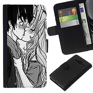 Stuss Case / Funda Carcasa PU de Cuero - Baiser Garçon Fille Surprise Amour Couple Art Dessin - Samsung Galaxy Core Prime