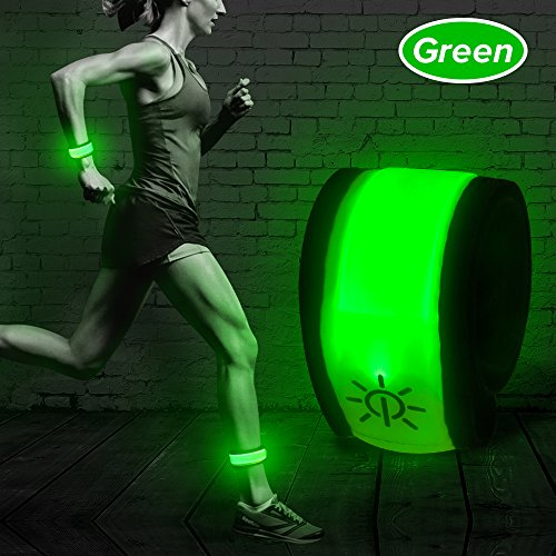 (Higo LED Slap Band,Glow Bracelet,Heat Sealed Lighten UP Sport Armband for Running Walking Cycling Concert Camping Outdoor Sports (Green))