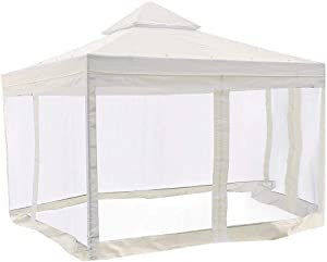 10x10 Feet/ 121x121-inch Square Ivory Poly-Vinyl Garden Canopy Gazebo Replacement Top with Mosquito Net 2-Tier Waterproof for Outdoor Patio UV Protect Sun Shade