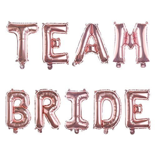 Ella Celebration Non-Floating TEAM BRIDE Balloons, Balloon Letters for Bachelorette Party, Bridal Shower Decor (Rose Gold) (Bridesmaid Balloon)