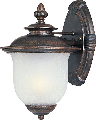 Frost Incandescent Sconce - Maxim 3093FCCH Cambria Cast 1-Light Outdoor Wall Lantern, Chocolate Finish, Frost Crackle Glass, MB Incandescent Incandescent Bulb , 100W Max., Dry Safety Rating, Standard Dimmable, Glass Shade Material, 5750 Rated Lumens