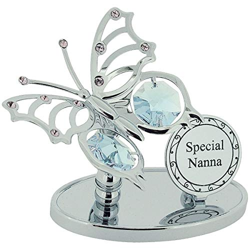 """Price comparison product image Crystocraft """"Special Nanna"""" Freestanding Silver Plated Butterfly Ornament With Elements made with Swarovski Crystals."""
