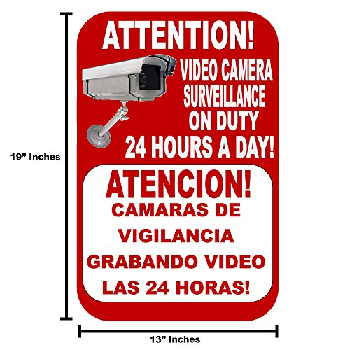Best Business Security Camera & Video Surveillance Sign for Buildings, Parking Lots and underground Parking Sign is in English and Spanish Durable Long Lasting sign 13x19