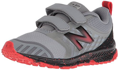 (New Balance Boys' Nitrel v3 Hook and Loop Trail-Runners, Steel/Flame, 7 W US Big)