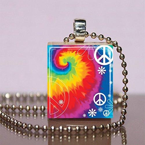 - Rainbow Tie Dye the 60's Scrabble Tile Pendant Necklace - Wearable Art