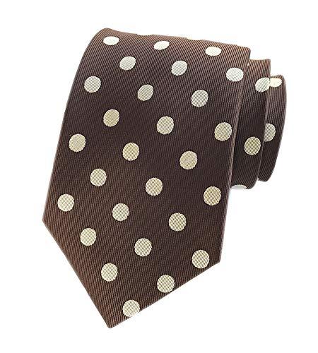 Men's Brown Coffee Self Tie White Polka Dots Pattern Textured Party Silk Necktie