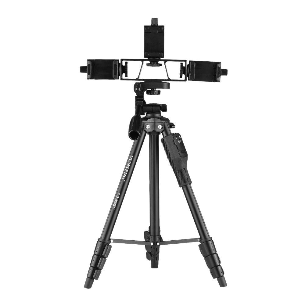Andoer Yunteng vct-6808 4-section Telescoping三脚多機能三脚3電話ホルダー付き3ウェイリモートコントローラダンピングボールヘッド最大負荷容量2 kg for Live Showビデオ作成の電話   B079L21GNS