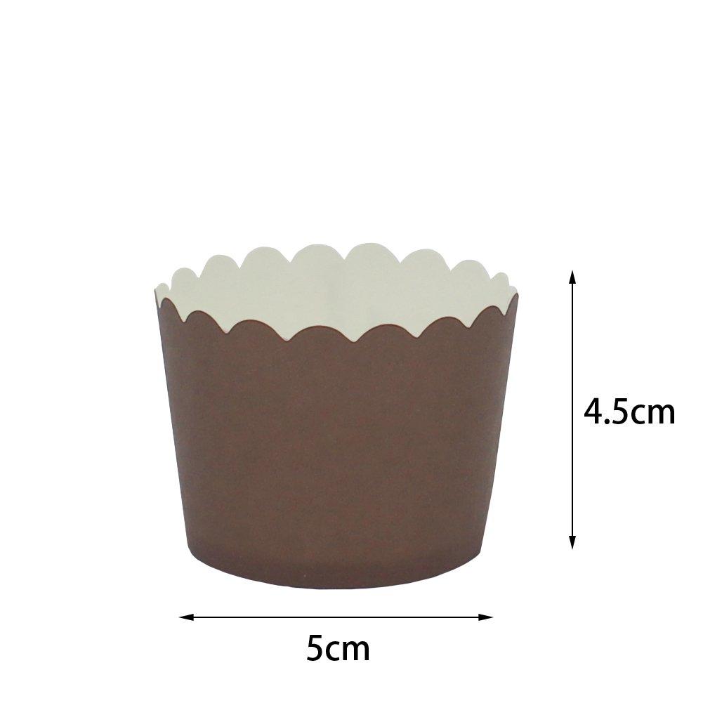 Beiersi 24Pcs Papierkuchen Liner Tasse Cupcake Muffin Backen (Braun)