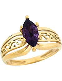 10k Yellow Gold Amethyst Marquise Ornate Design Ladies Ring