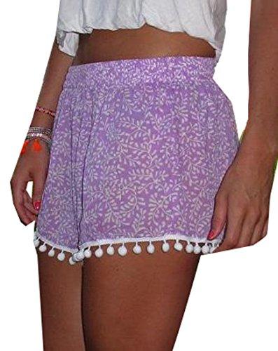 Hot Papijam Women\'s Beach 6Colors Printed Beaded Elastic waist Shorts RJT7rrfR