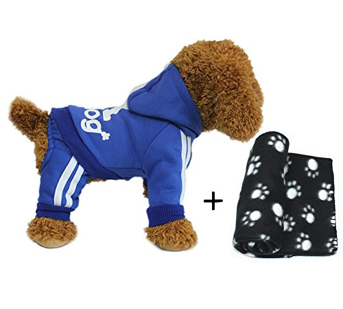 Oompa Loompa Costumes For Dogs (YAAGLE Pet Warm Sweater Hoodie Coat Sweatshirt Clothes Costume Apparel for Dog Puppy Cat,Blue+Blanket)