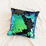 Mermaid Pillow with Insert Green Flip Sequin 16x16 Decorative Throw Pillow, Magic Glitter Reversible Color Changing Throw Pillow Cushion Shams for Room, Sofa, bedroom And Living Room Decor