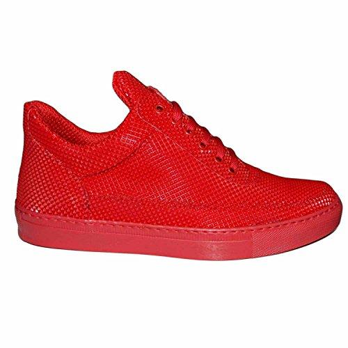 Sneakers bassa uomo scarpe calzature modello phil dettaglio piramide rosso vera pelle