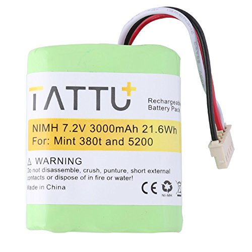 TATTU Replacement Battery for iRobot Braava380, 380T, Mint 5200, 5200B, 5200C Floor Mopping Robots-7.2V 3000mAh High Capacity Vacuum Battery by TATTU